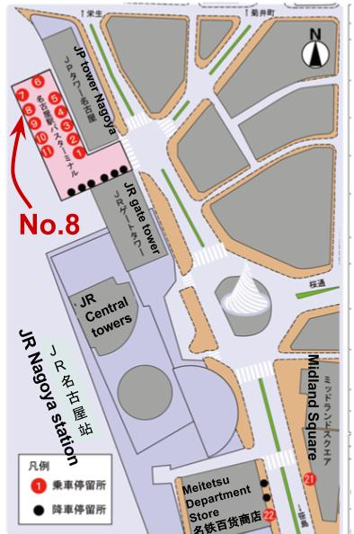 Nagoya station bus terminal map